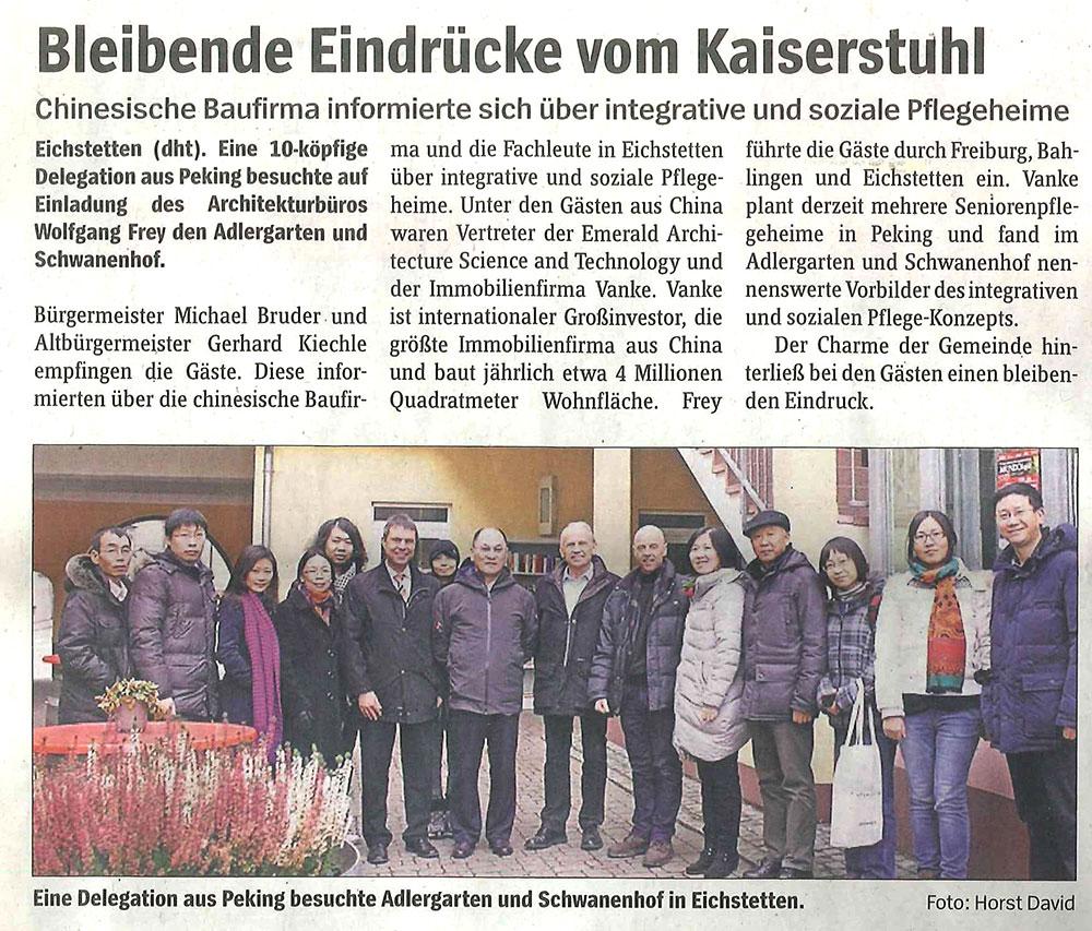 Frey Architekten Freiburg chinesische Investoren zu Besuch