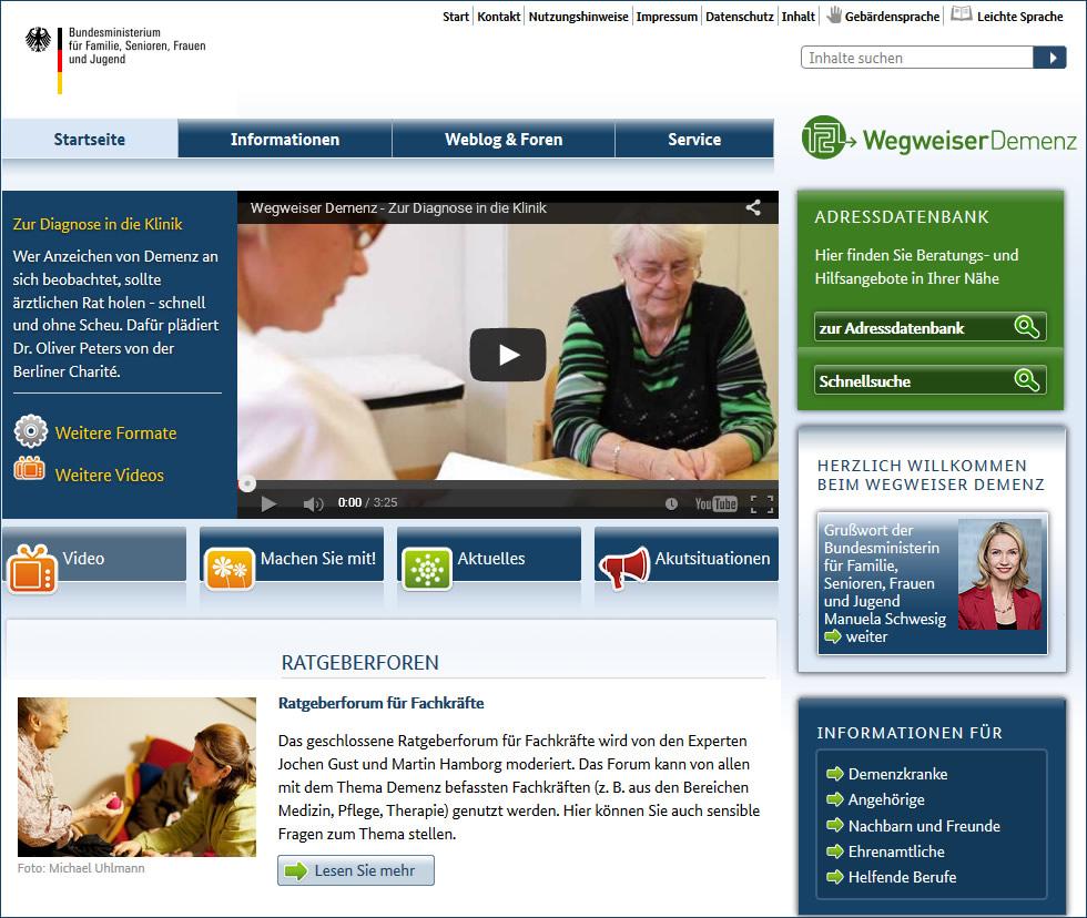 Foren, Informationen und Adressen zum Thema Demenzerkrankung
