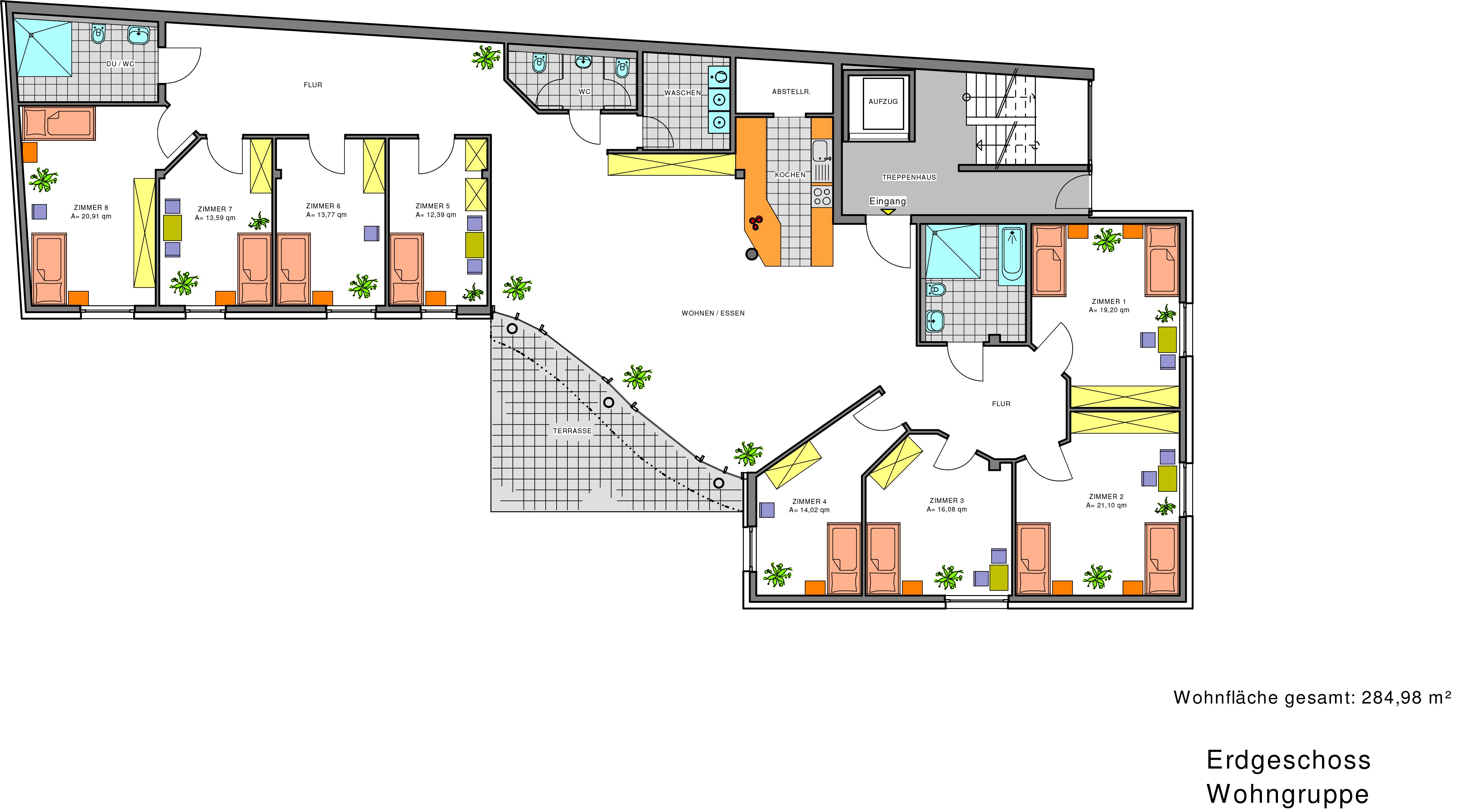 Architektur der Pflege: Grundriss Pflegewohngruppe Adlergarten