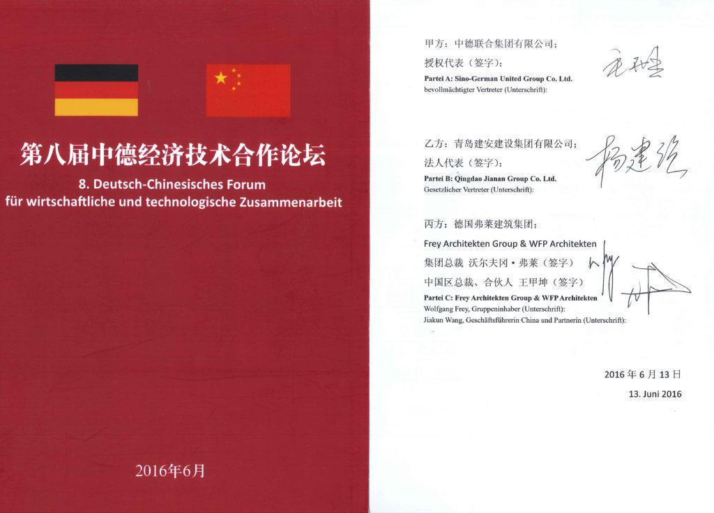 Wolfgang Frey Architekten Angela Merkel China Li Keqiang China 2016 Vertrag