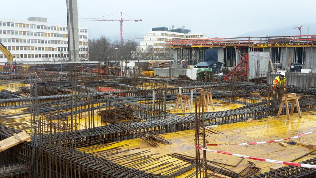 Bauteil A: Die Deckenfläche KG neben Innenhof im Bauteil A