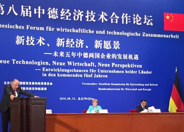 Deutsch-Chinesischen Forum für wirtschaftliche und technologische Zusammenarbeit in Peking