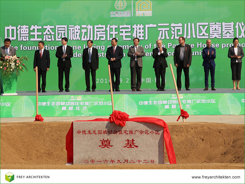 Wolfgang Frey with other participants during the groundbreaking ceremony in Asia's largest passive house settlement to date