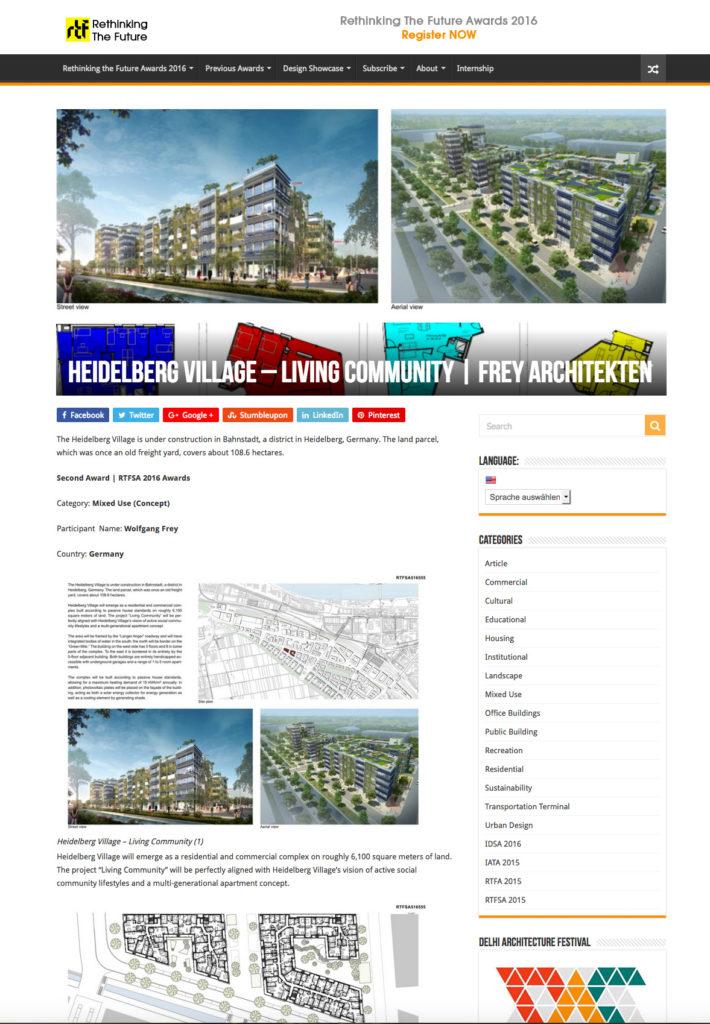 RTF Rethinking The Future Award Heidelberg Village Frey Architekten